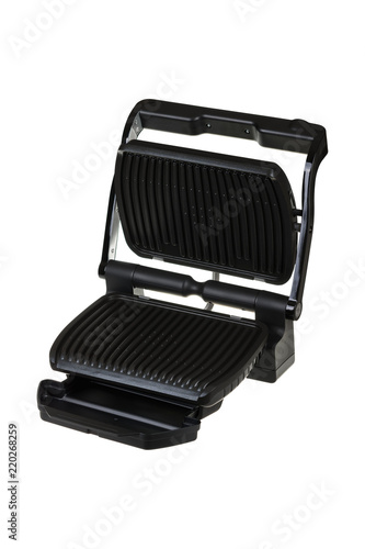 Black electric grill isolated on white background