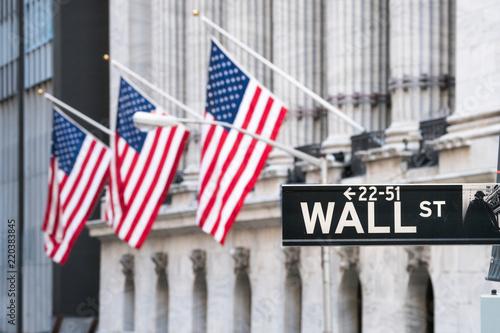 Wall Street na dolnym Manhattanie, Nowy Jork, USA