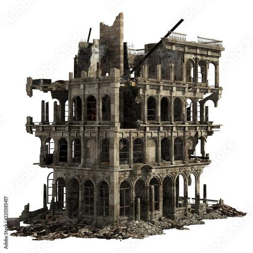 Ruined Building Isolated On White 3D Illustration Fototapeta