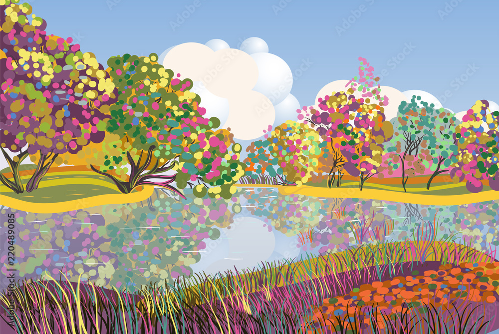 Illustration with summer landscape. Lake and trees