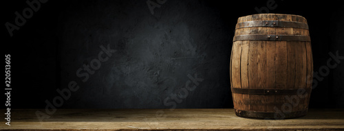 Fotografie, Tablou background of barrel and worn old table of wood