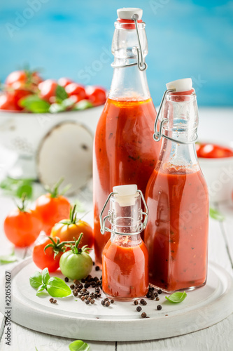 Homemade and tasty ketchup prepared from tomatoes