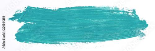 Turquoise brush stroke isolated over white background