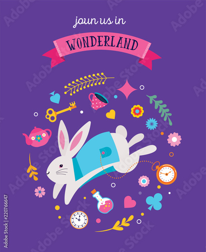 Photo Alice in Wonderland banner, poster and card. We are mad here