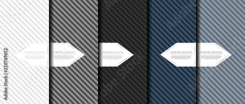 Leinwand Poster Symmetric collection abstract carbon fiber pattern background card template vect
