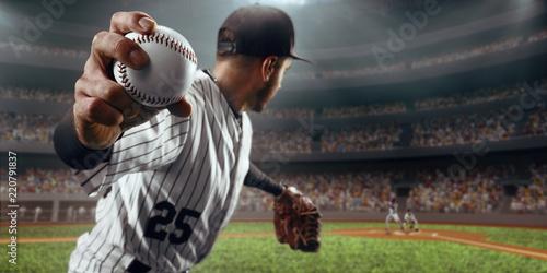 Canvas Print Baseball player throws the ball on professional baseball stadium