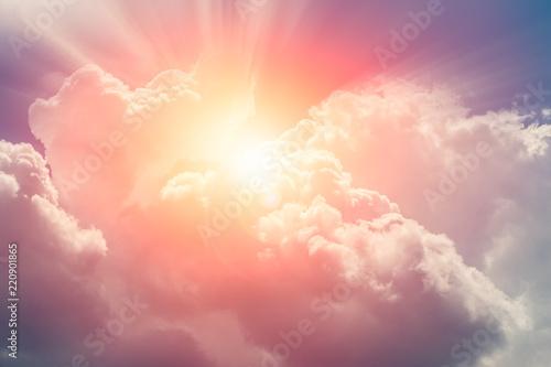heaven cloud sky sunny bright for future wealth fortune day concept Fototapeta