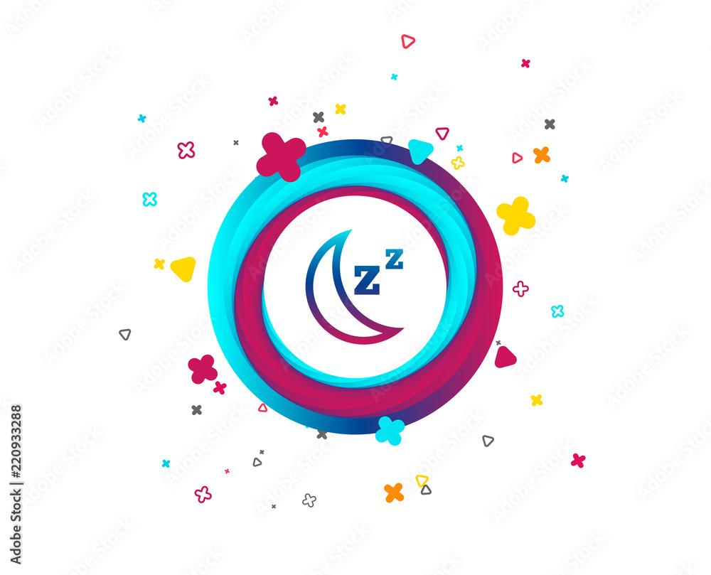 Ikona znak uśpienia. Księżyc z przyciskiem zzz. Czekaj. Kolorowy przycisk z ikoną. Elementy geometryczne. Wektor <span>plik: #220933288 | autor: blankstock</span>