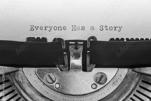 Everyone has a story typed on a vintage typewriter