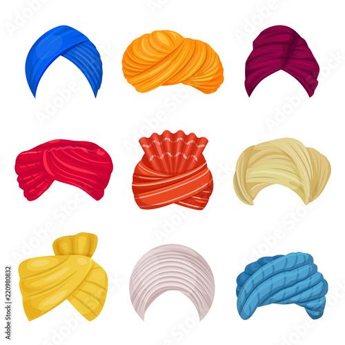 Fotografie, Obraz Indian and arabic turban vector illustration on white background