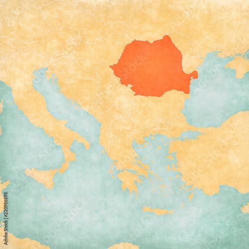Wallpaper Mural Map of Balkans - Romania
