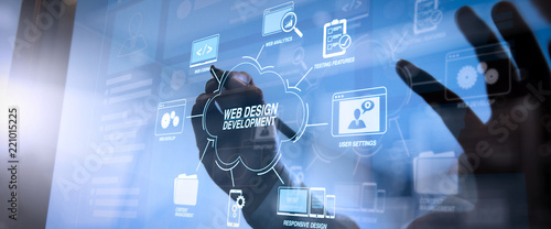 Developing programming and coding technologies with Website design in virtual diagram.cyber security internet and networking concept.Businessman hand working with VR screen.