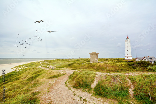 Wallpaper Mural Lighthouse and old bunker in the sand dunes on the beach of Blavand, Jutland Den