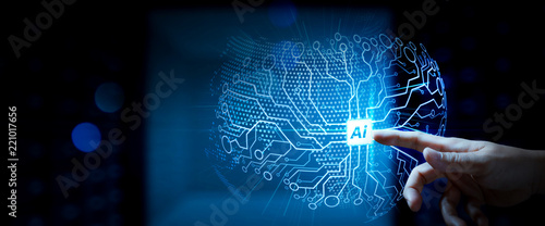 Artificial Intelligence (AI),machine learning with data mining technology on virtual dachboard.Business team meeting.Professional investor hand working wide VR screen computer.