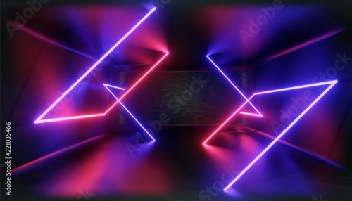 3d Visualization. Geometric figure in neon light against a dark tunnel. Laser glow.