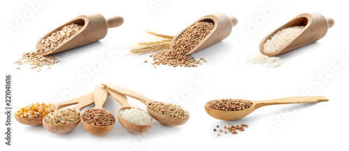 Photo Set with different cereal grains on white background