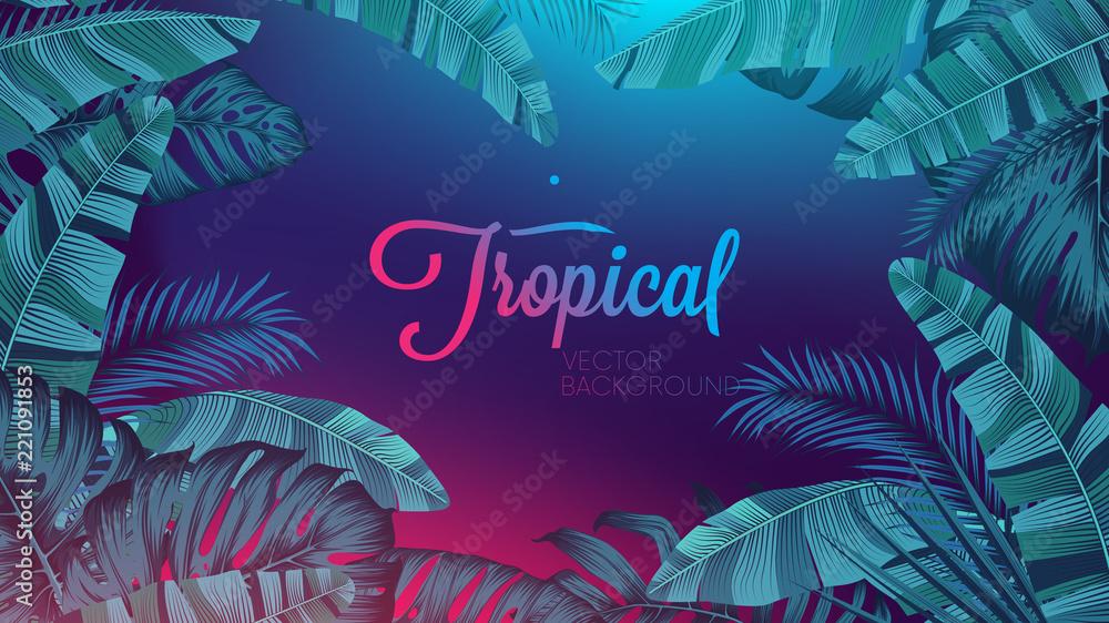 Czerwony błękitny neonowy światło, modny tło z tropikalną wektorową rośliną i liść <span>plik: #221091853   autor: max_776</span>