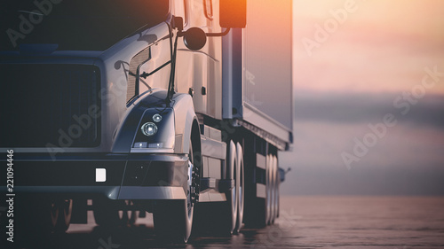 The truck runs on the highway. 3d render and illustration.