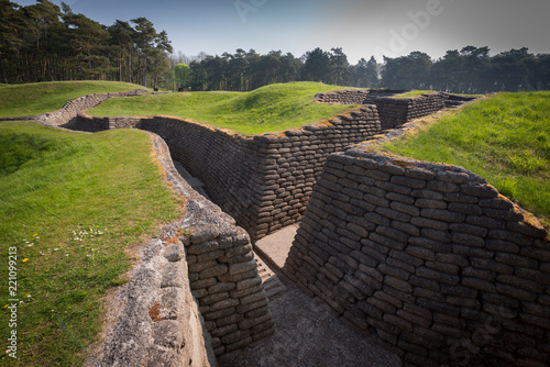 Photo Preserved trenches at the World War One  battlefield of Vimy Ridge, France