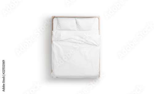 Fényképezés Blank white bed mock up, top view isolated, 3d rendering