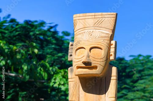 Fotografie, Obraz Wooden Taino idol in Dominican Republic close