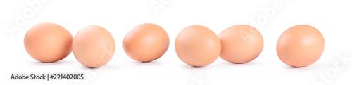 Six chicken eggs on white background