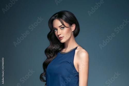 Valokuvatapetti Beautiful hairstyle brunette long hair woman classic hairs curly