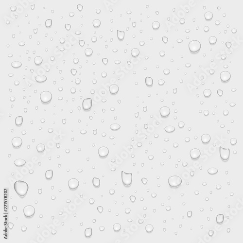 Wallpaper Mural Realistic pure water rain or steam drops on transparent background