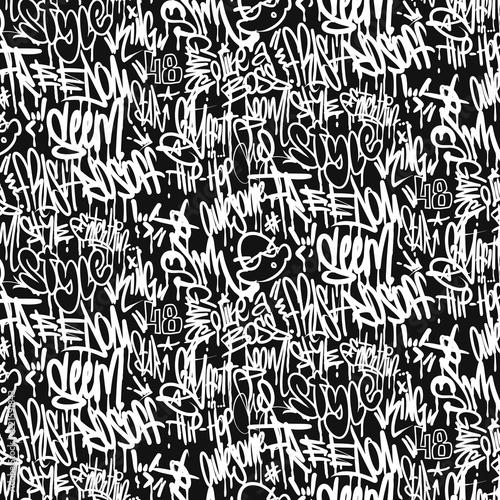 Wallpaper Mural Vector graffiti tags seamless pattern, print design.