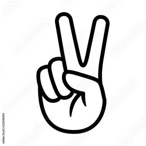 Photo Hand gesture V sign for victory or peace line art vector icon for apps and websi