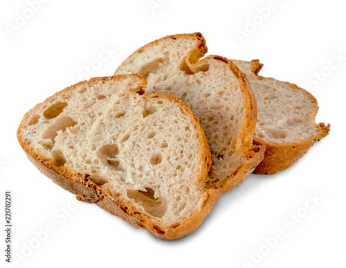 Fotomural Loaf of bread slices isolated on white background