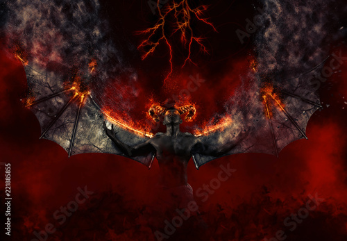 Vászonkép Demon summons evil forces and opens hell portal