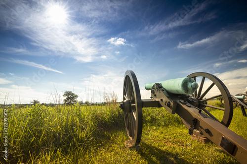 American Civil War battlefield cannon in Gettysburg National Military Park Penns Fotobehang