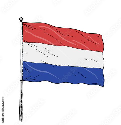 Wallpaper Mural Dutch flag drawing - vintage like colour illustration of flag of the Netherlands