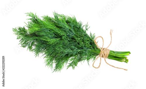 Slika na platnu Bouquet of fresh dill bandaged with rope