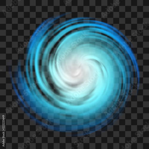 Canvas Print Blue hurricane symbol on dark transparent background