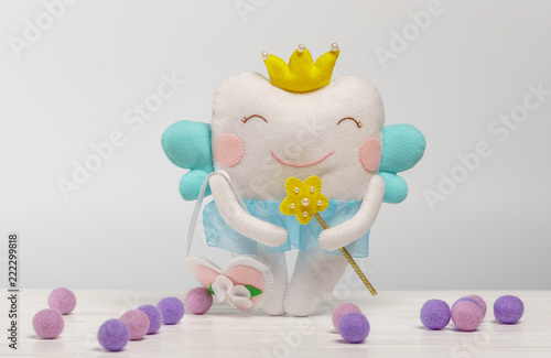 Cute felt tooth fairy for small kids. Handmade children