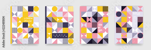 Triangle geometric pattern background texture for poster cover design. Minimal color vector banner template with circles, square