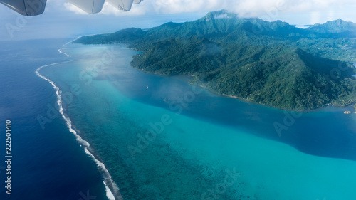Fotografie, Obraz Flying over Huahine Blue Lagoon In French Polynesia