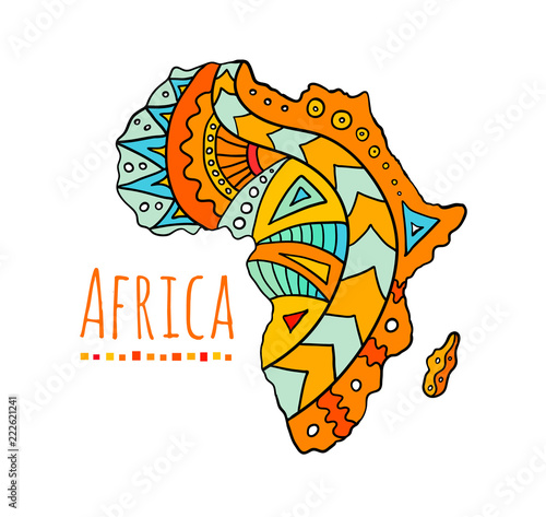 Photo Hand-painted African continent