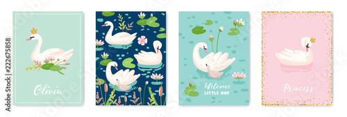 Fototapeta premium Kolekcja pięknych łabędzi plakaty do druku projektowego, pozdrowienia dla dzieci, karty przyjazdu, zaproszenia, ulotka sklepu dziecięcego, broszura, okładka w wektorze