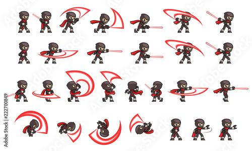 Canvas Print Black Ninja Attack Game Sprites