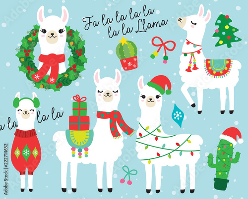 Canvas Print Cute llama and alpaca with Christmas holidays theme vector illustration