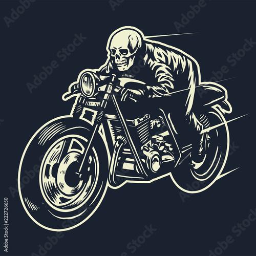 Wallpaper Mural skull ride the cafe racer motorcycle