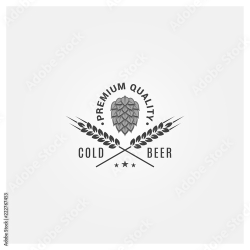 Stampa su Tela beer logo with hops and wheat on white background