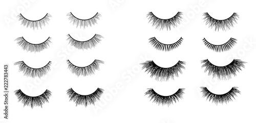 Valokuvatapetti Faux lashes set isolated on white background, Vector illustration