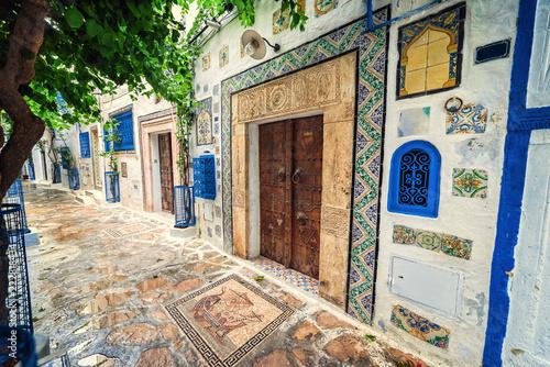 Obraz na plátně Hammamet Medina old town streets. Tunis, north Africa.
