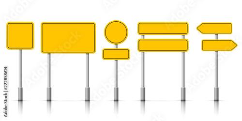 Fototapeta Yellow street road sign boards. Vector roadsign alert notice