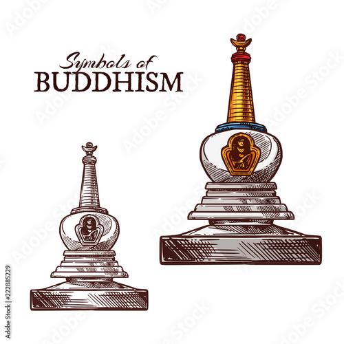 Wallpaper Mural Buddhism religion symbol of buddhist stupa sketch