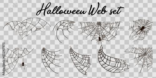 Obraz na płótnie Vector illustration Halloween spider web isolated on transparent background